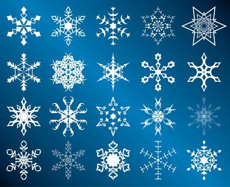 wintery: set of white snowflakes Illustration