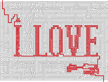 labyrinthine:  illustration of labyrinth with words - I love Illustration