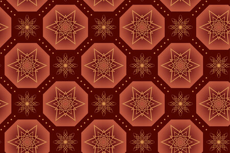 octahedron: brown vector geometrical texture with stars