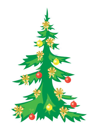 winterly: vector christmas tree with decorations Illustration