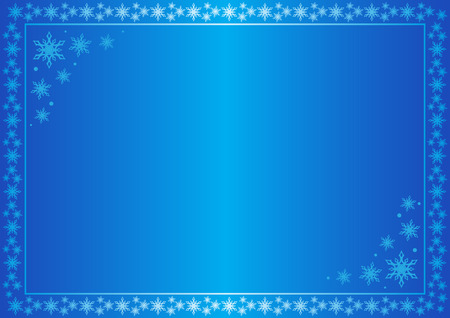 winter blue frame with snowflakes Vector