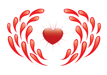 lifeblood: heart and drops of blood