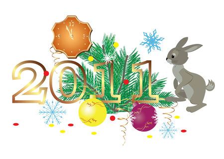 2011 and decorations and rabbit Vector