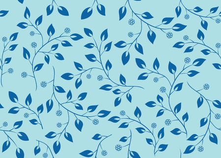 blue seamless pattern with branches