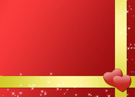 romantic red card with gold ribbons photo