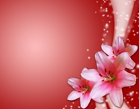 red card with pink flowers Stock Photo - 8492265