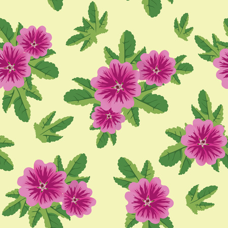 vector seamless floral texture with malva flowers