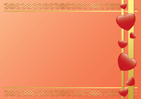 frame with hearts and tracery Vector