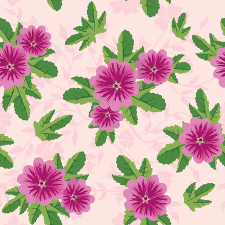textile image: pink floral texture with malva flowers