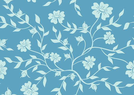 blue floral seamless texture Vector