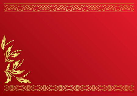 incarnadine: red card with golden decoration