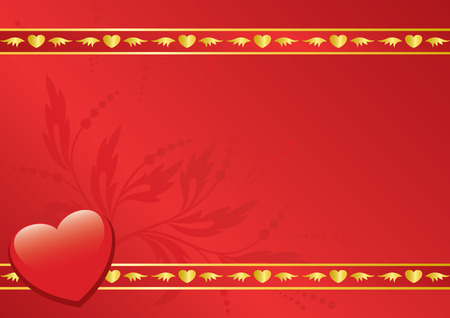 red card with golden decor Stock Vector - 8688784