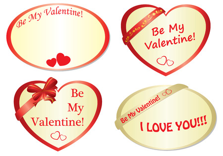 set of romantic frames with hearts Vector