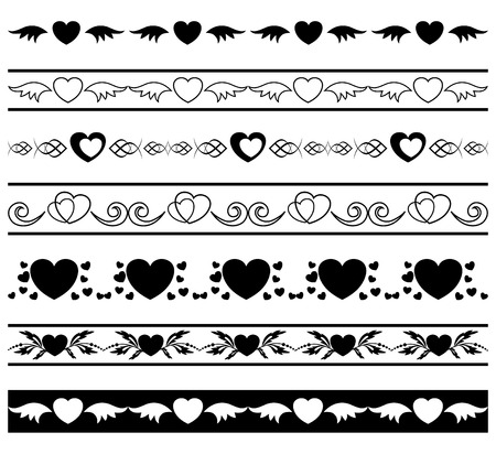 set of vector black borders for romantic design Vector