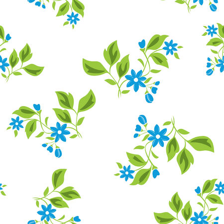 textiles: vector seamless floral texture with blue flowers on white