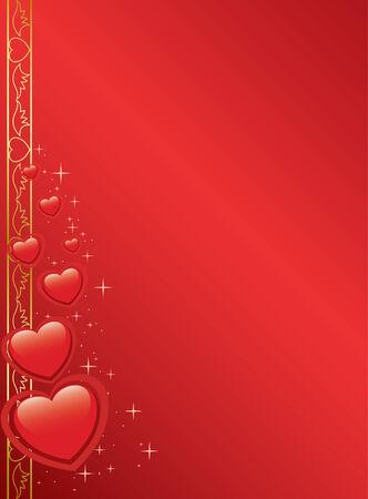 vector rode kaart met hartjes en sterren