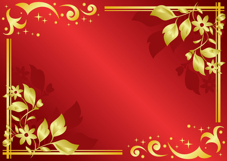 incarnadine: vector red card with golden decorations