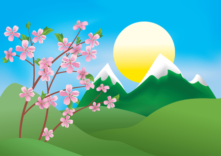 illustration with branches of peach  Vector