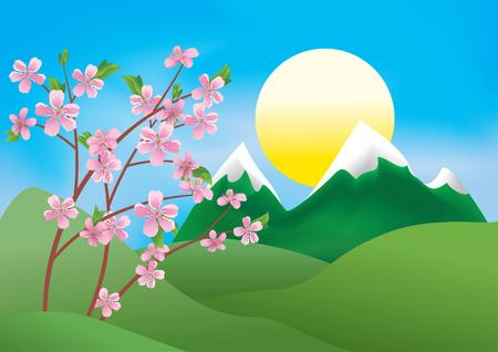 flor de durazno: Ilustración con ramas de durazno