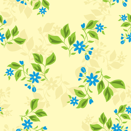 seamless floral texture with blue flowers Vector