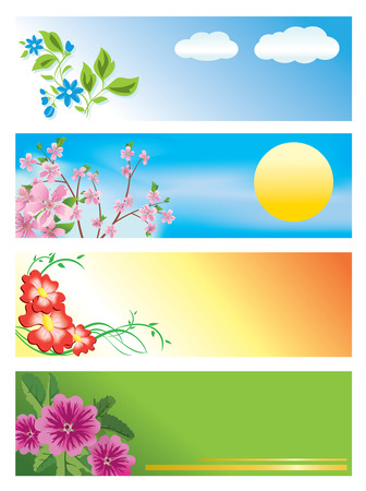 horizontal: Vector horizontal banners with flowers  Illustration