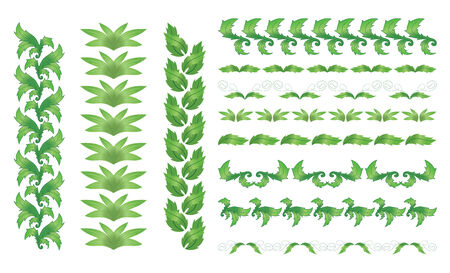 vertical dividers: set of Vector green floral borders