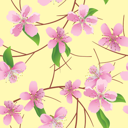 peachy: Vector pattern with peach flowers