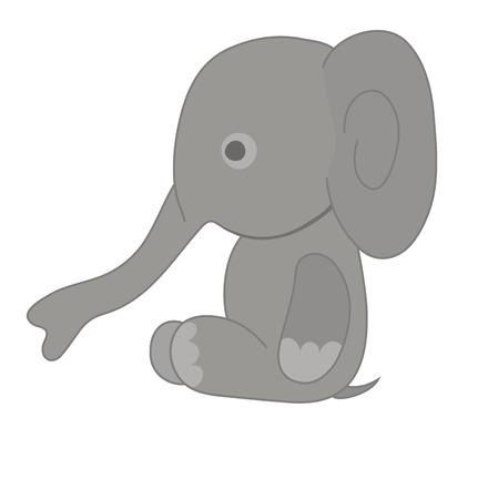 proboscis: Vector illustration of small gray elephant  Illustration