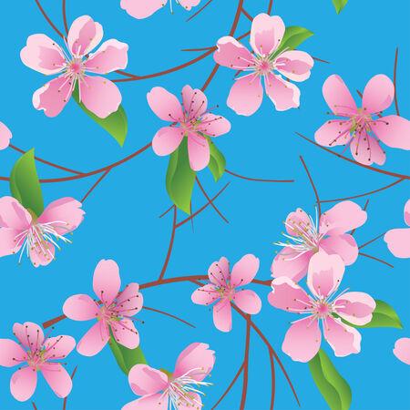 flor de durazno: patr�n de vector azul con flores duraznos Vectores