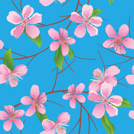 peach tree: vector blue pattern with peach flowers Illustration
