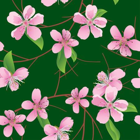 peach tree: vector dark green seamless pattern with peach flowers