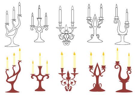 candelabrum: set of black and brown candelabras