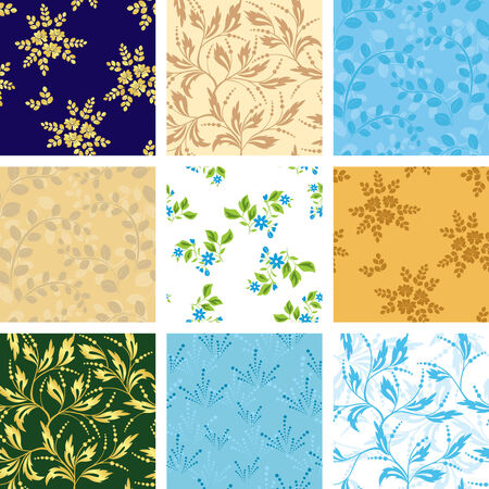 set of various vector seamless patterns with flora Vector
