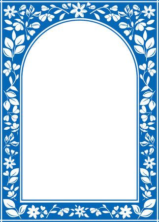 ベクトル青花のアーチ フレーム ホワイト センター