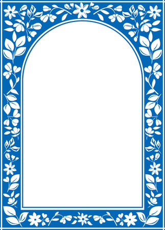 archway: vector blue floral arch frame with white center