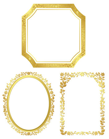 golden frames: set of vector various golden frames Illustration