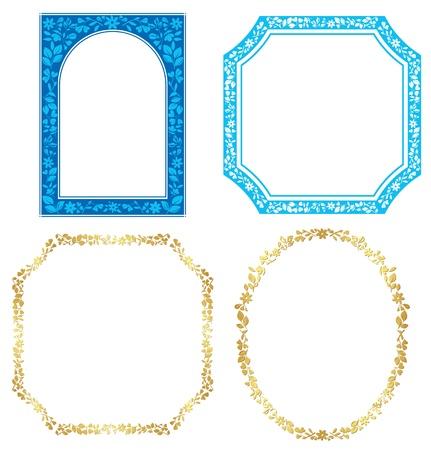 植物とのベクトル青と金色のフレーム セット