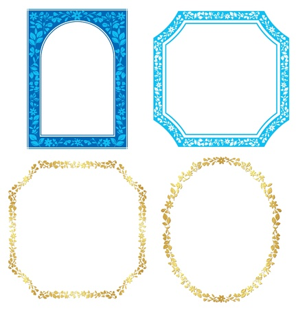 set of vector blue and golden frames with plants Vector