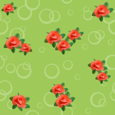 vector light green seamless texture with roses and circles Vector