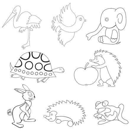 urchin: vector black silhouettes of animals Illustration