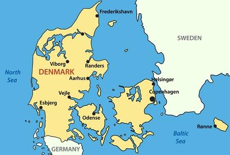 denmark: map of Denmark