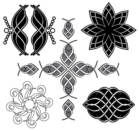 set of vector black tracery for design Vector