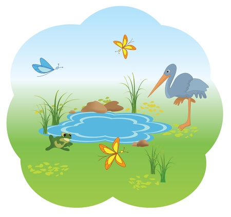 vector illustration of nature with blue lake