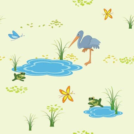 blue heron: vector seamless texture with animals and butterflies Illustration