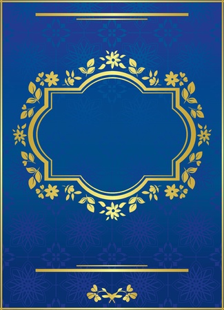 vector blue elegant card with golden frame Stock Vector - 9380025