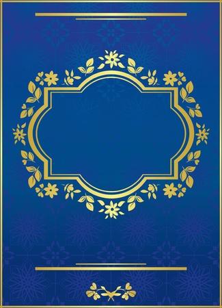 vector blue elegant card with golden frame Vector