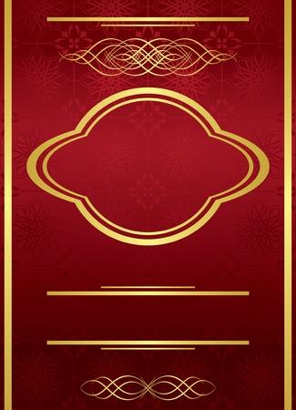 bordo: vector vertical elegant red card with golden frame