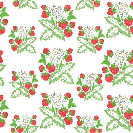 light seamless pattern with strawberry Vector