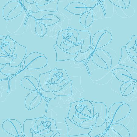 light blue seamless pattern with roses Vector