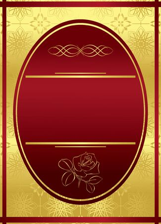 bordo: vector vertical golden frame with red oval Illustration